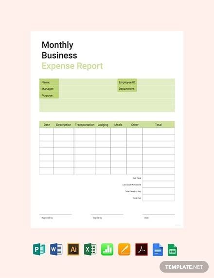 Instantly Download Free Monthly Business Expense Report Template Sample Example In Pdf Microsoft Word Doc Mic Report Template Templates Business Expense