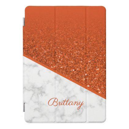 Personalized Orange Glitter White Marble Ipad Pro Cover Zazzle Com Ipad Pro Cover Orange Glitter Ipad Pro
