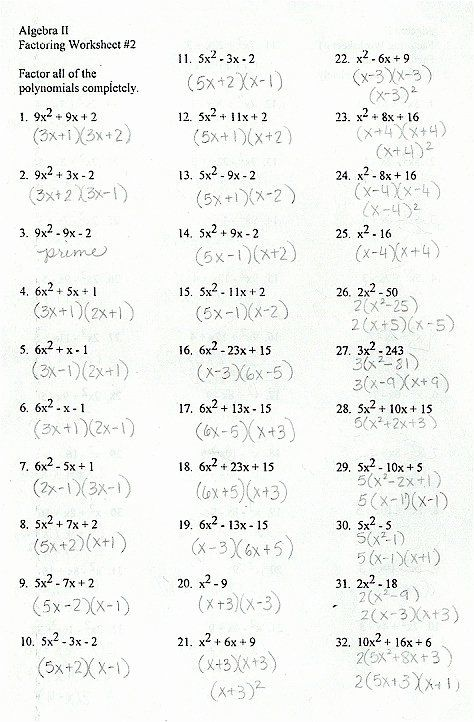 Factoring Trinomials Worksheet Answers Luxury Factoring General Trinomials In 2020 Factor Trinomials Factoring Polynomials Mathematics Worksheets