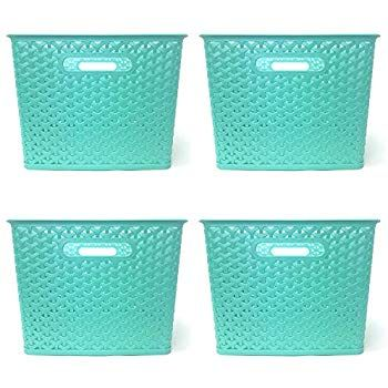 Amazon Com Clever Home Basket Weave Plastic Storage Bin Set Of 4 13 75 X 11 X 9 Coral Home Kitchen Plastic Storage Bins Plastic Storage Basket Weaving