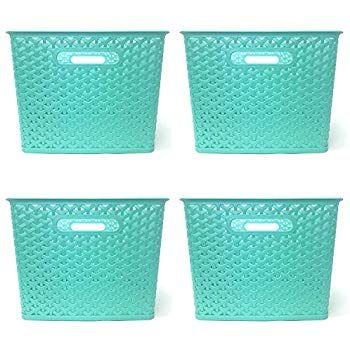 Amazon Com Clever Home Basket Weave Plastic Storage Bin Set Of 4 13 75 X 11 X 9 Coral Home Kitchen Plastic Storage Bins Plastic Storage Basket Weaving