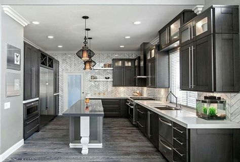 Grey plank tile, dark cabinets, light countertops for kitchen