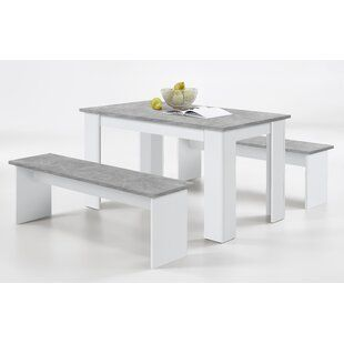 August Grove Alfreda Folding Dining Set With 4 Chairs Dining Table With Bench Grey Dining Tables Table With Bench Seat