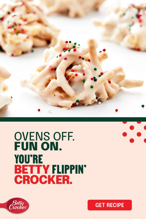 Chow mein noodles, peanuts, marshmallows, some sweet vanilla frosting, and baking chips turn an unexpected combination into a holiday dessert favorite — no oven needed! Every cookie tray needs a surprise — you just found yours.