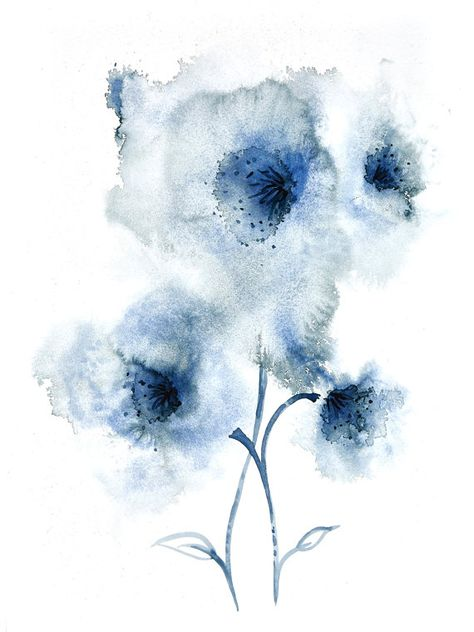 Beautiful Navy Blue Abstract Flower Watercolour Painting Wall Art Download For you to download and print out at home or take to a professional printers. This is a download of my original fine art watercolour Painting. It has been professionally copied to ensure that you receive