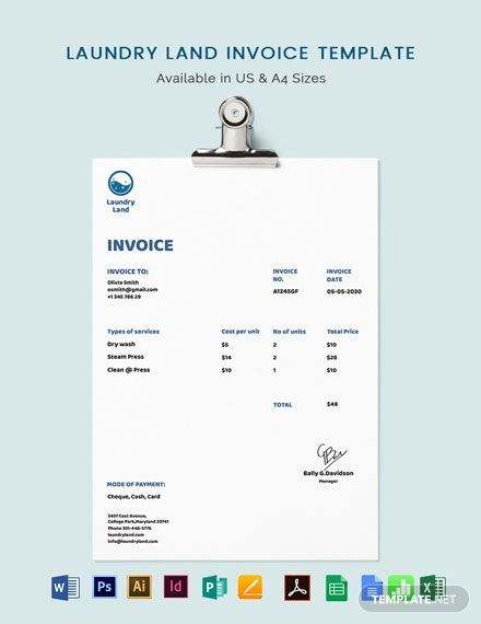 Laundry Invoice Template Free Pdf Word Excel Psd Indesign Apple Pages Google Docs Google Sheets Illustrator Publisher Apple Numbers