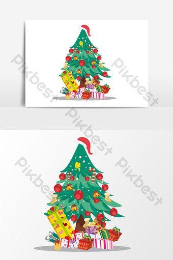 Hand Drawn Cartoon Christmas Tree Gift Design Element