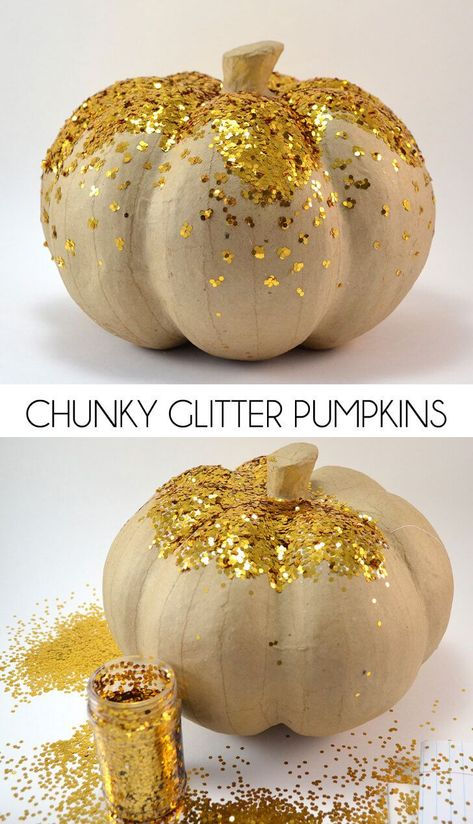 Chunky glitter pumpkins are super easy to make and add fun flair to your fall decor! Every Thanksgiving table needs a chunky glitter pumpkin! Theme Halloween, Halloween Pumpkins, Fall Halloween, Halloween Crafts, Halloween Goodies, Fall Pumpkins, Glitter Pumpkins, Painted Pumpkins, Painting On Pumpkins