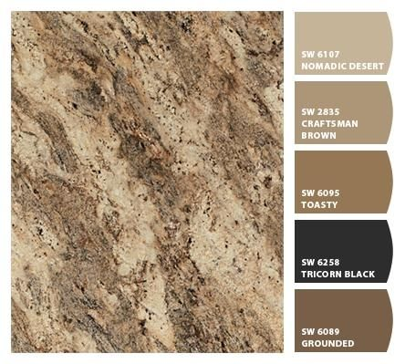 Formica 180fx Lapidus Brown and accompanying paint colors. | Kitchen Ideas  | Pinterest | Brown, Kitchens and Countertops