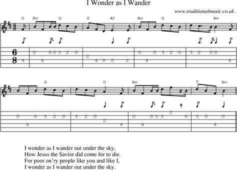 Music Score And Guitar Tabs For I Wonder As I Wander Guitar Tabs