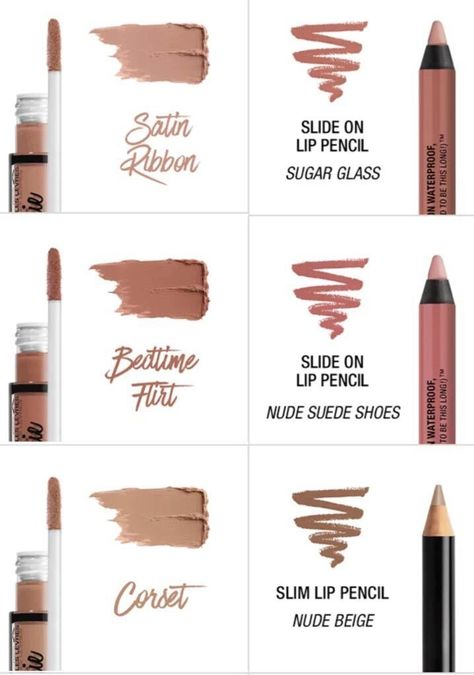 """""""NYX lingerie lipstick and lip liner that's match with it. Drugstore Makeup Dupes, Nyx Makeup, Makeup Swatches, Skin Makeup, Makeup Cosmetics, Makeup Kit, Makeup Products, Beauty Products, Candy Makeup"""