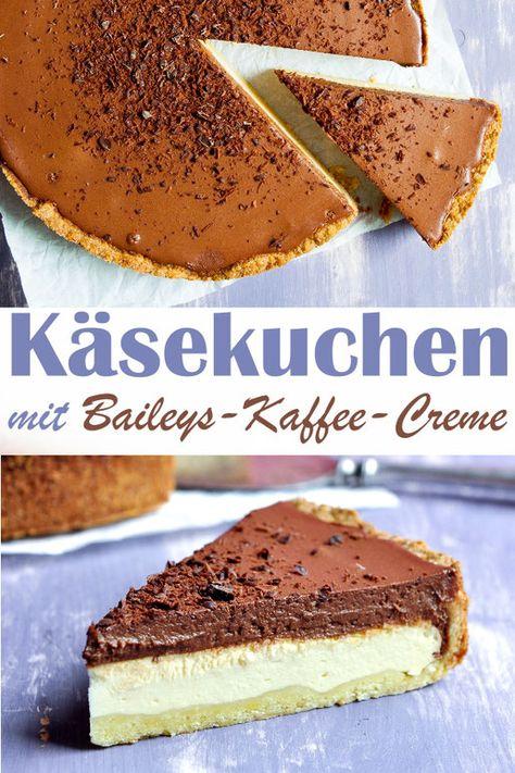 Käsekuchen mit Baileys Kaffee Creme. Eine fantastische Kombi für alle Käsekuchen Fans. Vegan möglich, Thermomix