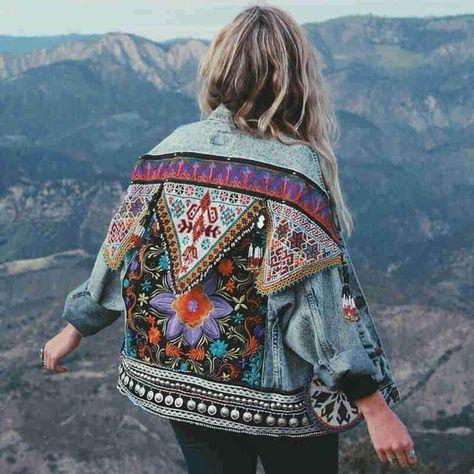 Boho floral appliques vintage denim jacket