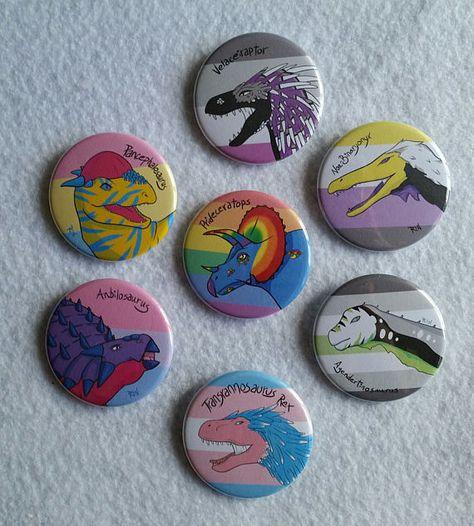 LGBT Dinosaur 1 3/4 Buttons