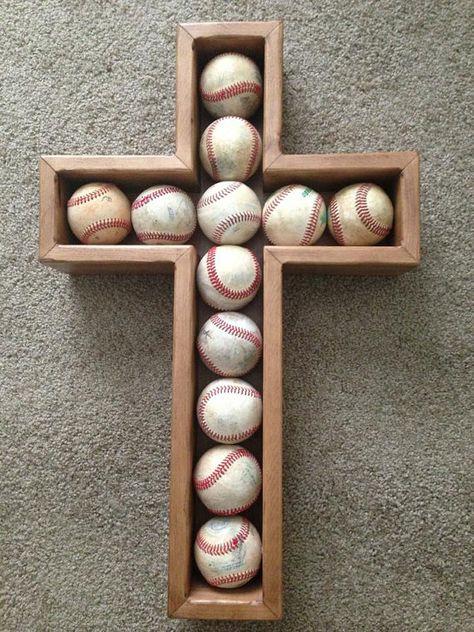 Baseball Cross Shadow box