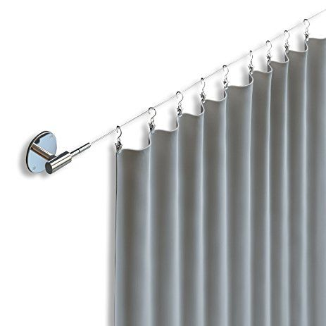 Fasthomegoods Soho Expandable Chrome Curtain Wire Rod Hanger