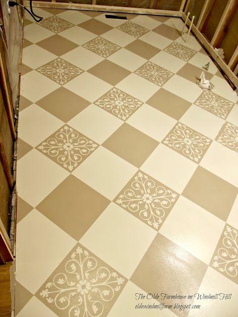 The Olde Farmhouse on Windmill Hill: Bathroom Update #3 ~ Painted Floor