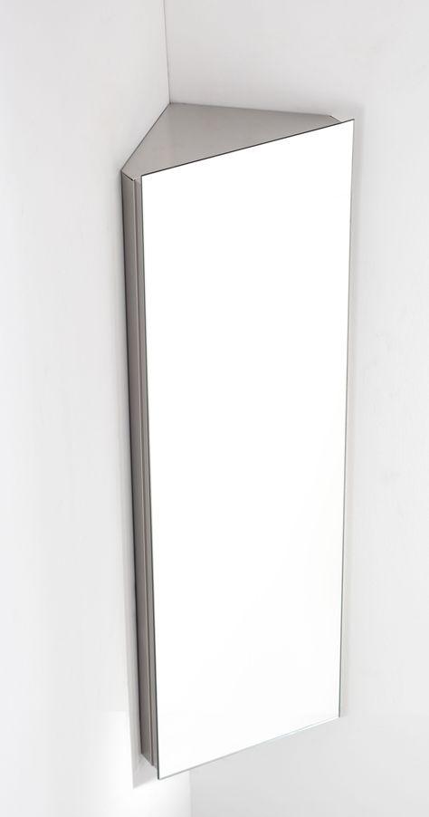 Reims 120cm Tall X 38cm Wide Single Door Corner Mirrored Bathroom Cabinet