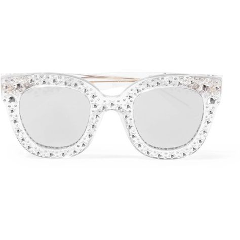 5d2f1f4946b Gucci Crystal-embellished cat-eye acetate mirrored sunglasses (6