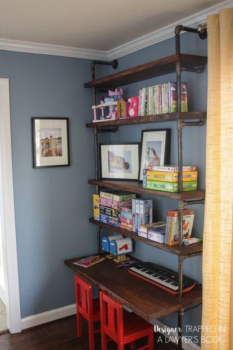 DIY Room Decor Ideas for Boys - - DIY Industrial Pipe Shelves and Desk - Teen Bedroom Decor Idea for Boy - Wall Art, Lighting, Lamps, Shelves, Bedding. Diy Shelves, Bookshelves Diy, Boys Desk, Built In Desk, Shelves, Boys Room Decor, Bedroom Diy, Home Decor, Desk Shelves