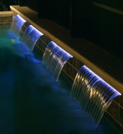 pool waterfall lighting. add a beautiful sheet waterfall to your retaining wall pool lighting s