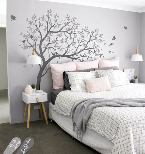Wall Decal Large Tree decals huge tree decal nursery with birds tree Wall mural removable vinyl wall