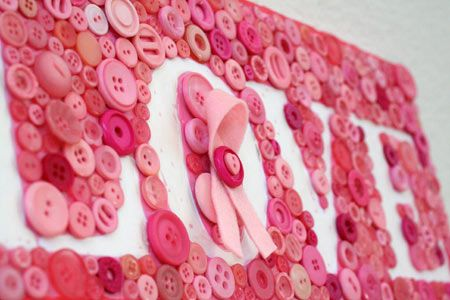 Pink Button collage on canvas