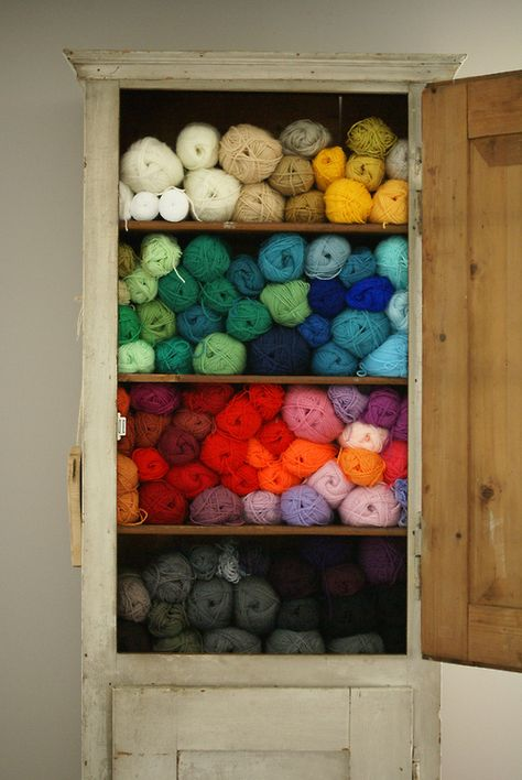 manic monday: cupboard filled with colourful yarn (by Ingrid Jansen   wood & wool)