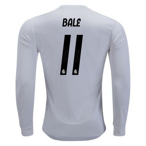 27bb8ded2 adidas Real Madrid Gareth Bale Authentic Long Sleeve Home Jersey 18 19-2xl