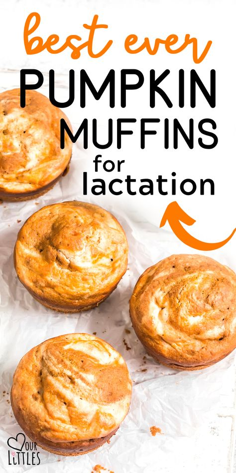 Easy and yummy pumpkin lactation muffins. Healthy lactation muffins you can enjoy while breastfeeding to improve your lactation support tactics. Lactation Muffin Recipe, Lactation Recipes, Lactation Cookies, Lactation Foods, Muffin Recipes, Baby Food Recipes, Cooking Recipes, Snack Recipes, Muffins