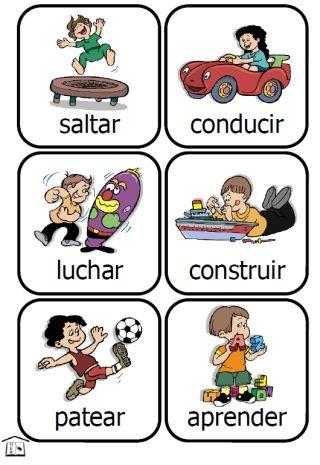 Spanish Verbs Action Kids Printable Card Set Spanish Verbs Learning Spanish Spanish Teaching Resources