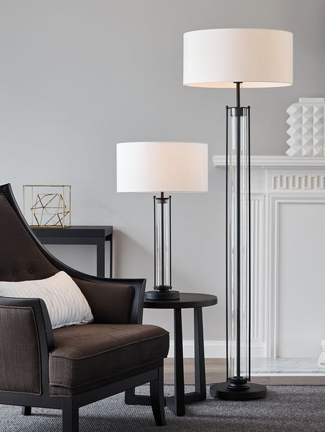 The Beacon Lighting Iris 1 light table lamp in black with