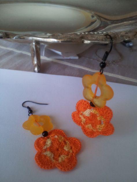 Fiori Gialli Pendenti.Orecchini Pendenti Fiore Giallo Arancio Orecchini Pendenti