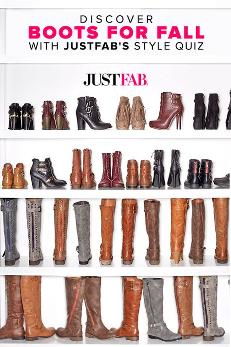 Tall boots are totally on-trend this season! Boots with knee-height construction with buckled strap details at the shaft and ankle, plus an edgy outer faux zipper and a slit in the back to accommodate a variety of calf sizes are hot! Discover boots for fall with JustFab's Style Quiz.