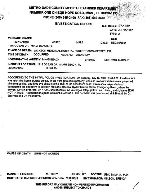 Coroner Gianni Versace The Smoking Gun Celebrity DEATHS - medical incident report sample