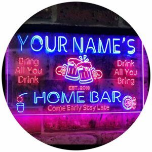 Personalised Bar Runner Sign Coaster Any Name Garden Plaque Gift Bar Pub 16