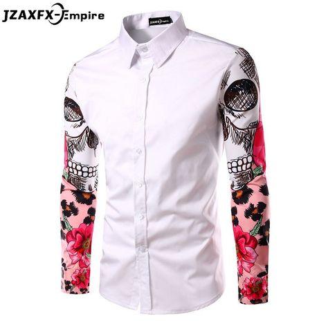 Mens Shirts Printed Blouse Casual Long Sleeve Slim Turn-Down Collar Tops