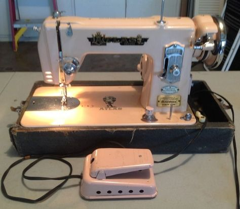 Vintage Atlas Deluxe Pink Sewing Machine With Case And Attachments Cool Electro Hygiene Sewing Machine