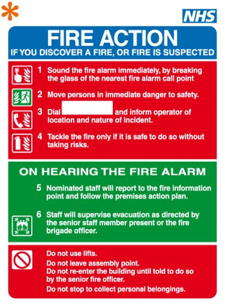 FA15 - Pictorial Staff Fire Action Notice Fire Action Signs - incident action plan