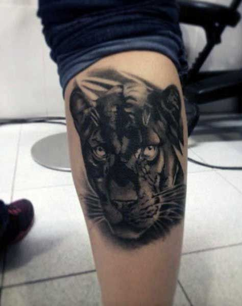 Black Panthers Tattoo For Guys On Back Of Leg Calf Panther Tattoo Black Panther Tattoo Jaguar Tattoo
