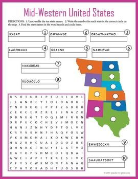 Us Geography Worksheet Mid Western United States Geography