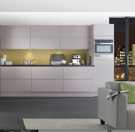 Contemporary Kitchen Grey white with chartreuse splashback | penny's kitchen | pinterest