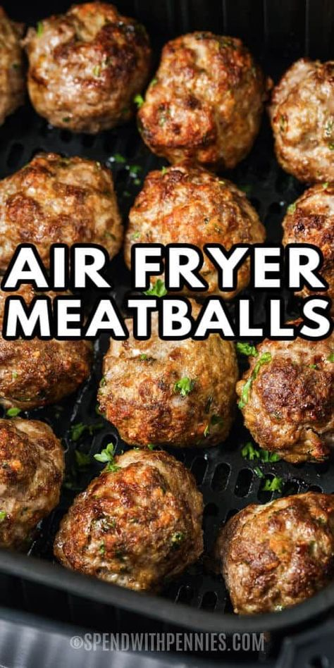 These homemade Air Fryer Meatballs can be served with pasta sauce or even in a meatball sub!