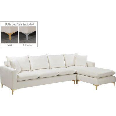 Allmodern 110 Velvet Reversible Sofa Chaise Wayfair In 2020 Sectional Sofa Couch Sectional Sectional Sofa