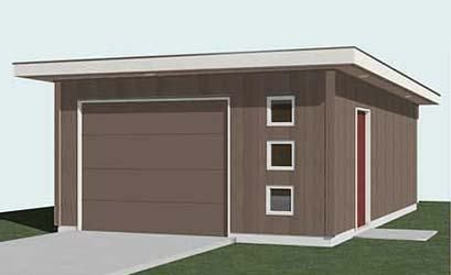 1 Car Flat Roof Garage Plan 384 M1 16 X 24 By Behm Designs Flat Roof Garage Plans Garage Plan
