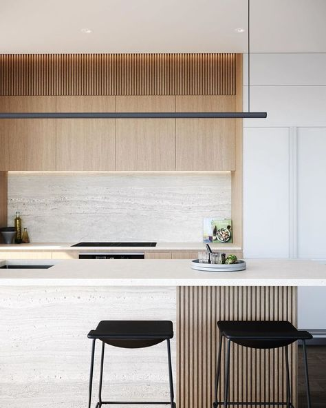 The textured bench and backsplash are minimalistic and soft, combined with the subtle timber slates create a serene space.