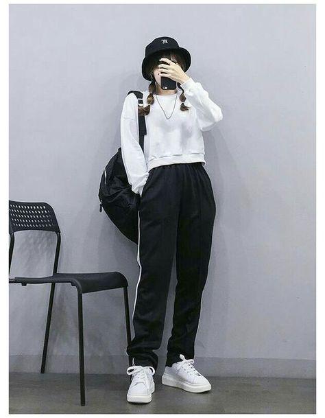 korean fashion casual black