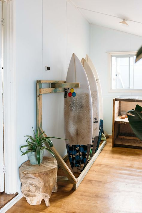 A Nomadic Couple's Raw & Earthy Australian Beach Shack - surf shack - The entryway had to have ample surfboard storage, so they made it themselves. Shack House, Br House, Small Beach Houses, Dream Beach Houses, Surf Shack, Beach Shack, Beach Interior Design, Beach Hut Interior, Australian Interior Design