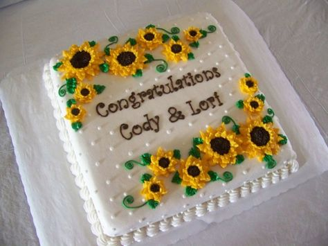 sunflower sheet cake 13 x 9 White cake with buttercream icing