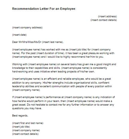 Letter Of Recommendation From Employer To Employee from i.pinimg.com